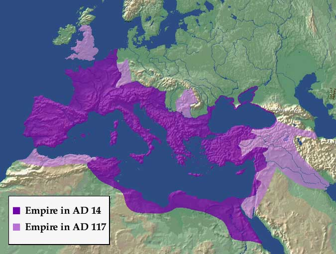 Map.The Roman Empire in the time of Trajan