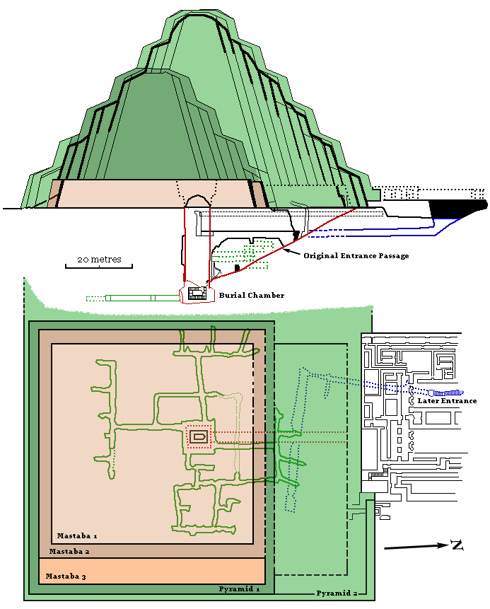 Plan and Section of the Step Pyramid