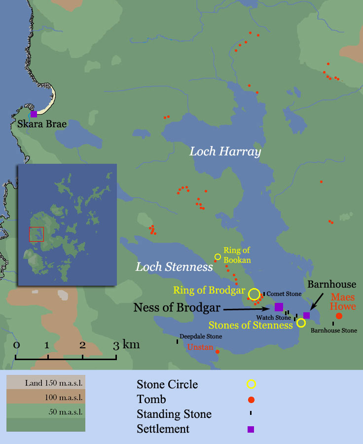 Map of the Monuments around Lochs Harray & Stenness