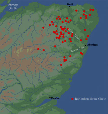 Map.Distribution of Recumbent Stone Circles