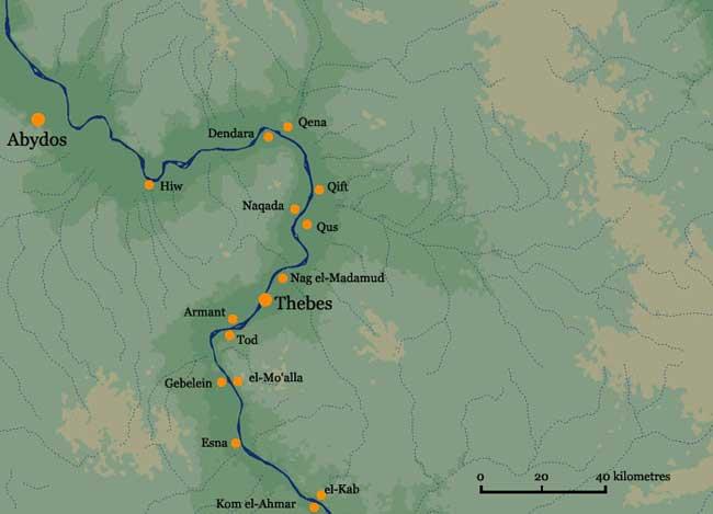 Thebes - Map of egypt karnak