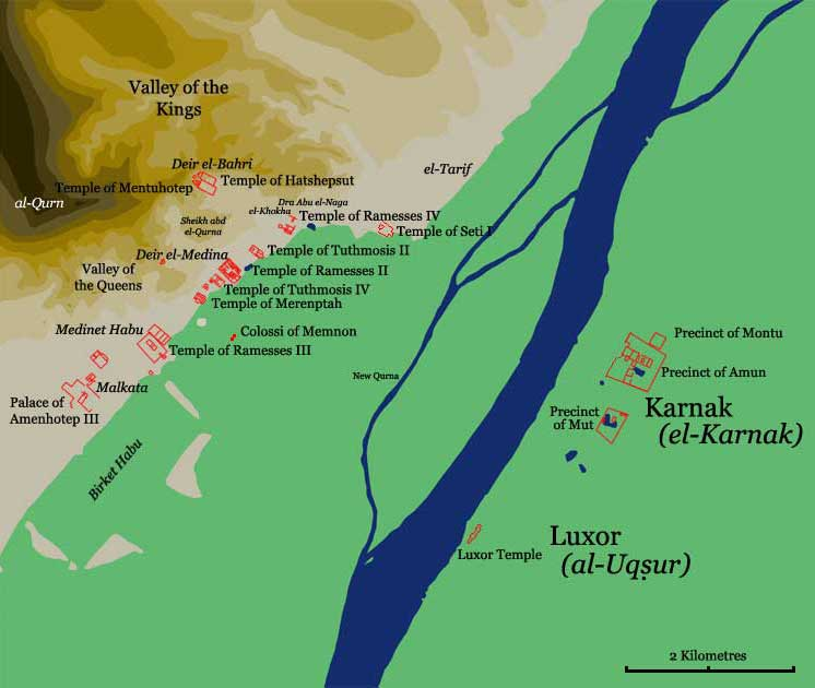 Map Of Thebes - Map of egypt thebes